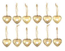 12er Set Herz Deko Anhänger Hänger Metall Dekoherz Taufe Hochzeit Kommunion gold