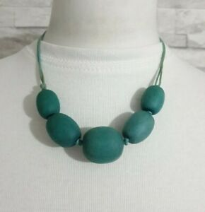 M&S Chunky Wood Beaded Green STATEMENT Cord Necklace Costume Jewellery Bohemian