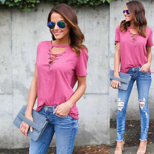 New Fashion Women's Summer Short Sleeve Loose Blouse Casual Shirt Tops T-Shirt