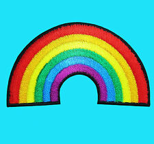 PRETTY RAINBOW COLORFUL Pride Gay Retro Embroidered Iron Sew On Patch Applique