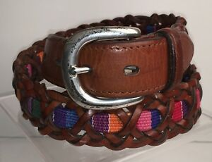Fossil Size M Brown Belt Braided Leather Multi Color Inset D4
