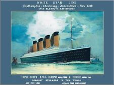 White Star Line R.M.S. Olympic Titanic Southampton Ocean Liner Travel Poster