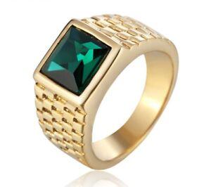 DAINTY Men Women Green Cubic Zircon Stone Gold Titanium Steel Ring Size 8-11