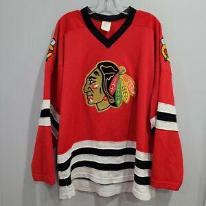 Vintage 80s CCM NHL Chicago Blackhawks Mesh Red Hockey Jersey Mens XL Sewn