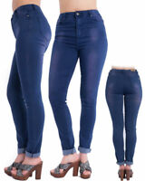 New Women's High Waisted Faded Denim Jeans Ladies Pants Trousers In Blue & Brown