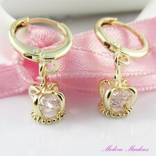 18k Gold GF Cubic Zirconia Dainty Crown Drop Huggie Hoop Earrings