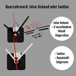 Quarz Uhrwerk Wanduhr lautlos leise ohne ticken Zeigersatz Metall ticken
