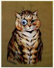 Louis Wain print TABBY CAT WITH MONOCLE funny cat illustration art