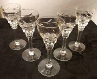 "5 Tiffin Mimi Cordial Glasses 4.5"" Elegant Cut Crystal Stem #17501"