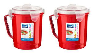 2 x Microwave Soup Mug 650ml Plastic Cup Container Hot Drink Food Pasta Porridge