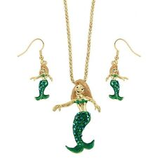 "Mermaid Necklace & Earrings Set - Sparkling Crystal - Fish Hook - 17"" Chain"