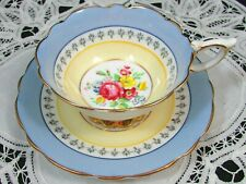 ROYAL STAFFORD BLUE YELLOW BANDS FLORAL WIDE TEA CUP AND SAUCER