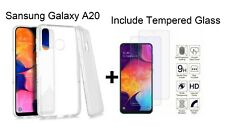 For Samsung Galaxy A20 Crystal Clear Soft TPU Slim Case Cover+Screen Ptotector