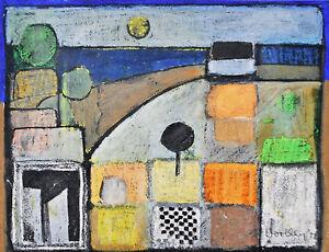 FRANCES WOOLLEY (1930-) RARE Original mixed media Abstract 1972 Modern Retro