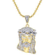 """Prata Esterlina 925 Mini Diamante Masculino Pingente Face Jesus Charme & Conjunto De Corrente 1.40"""""""