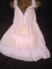 Sheer Soft Babydoll Set Matching Knickers Ladies Nightwear Size 12/14 M BNWT