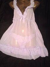 Sheer Soft Babydoll Set Matching Knickers Ladies Nightwear Size 12/14 M BNWT