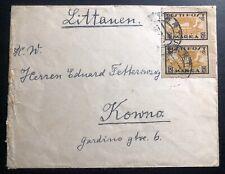 1921 Tartu Estonia Cover To Kauna Lithuania  Sc#35a Imperf Stamp