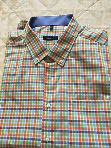 """Eterna Comfort Fit Short-Sleeved Checked Shirt Size 19.5"""" RRP £45 - 60"""" Chest"""