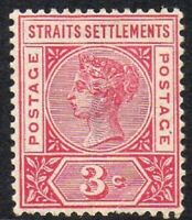 Straits Settlements 1892 QV 3c Mounted MINT Space Filler Stamp (Defect)