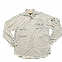 Timberland Button Down Shirt Size Large Khaki Cotton Long Sleeve Safari Logo