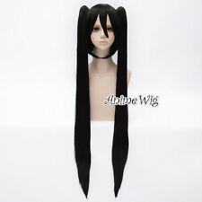100CM Ponytails Anime Vocaloid Miku Short Black Straight Party Cosplay Wig+Cap