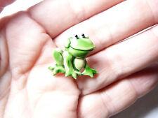Vintage silver tone metal green enamel Cute Frog pin brooch signed JJ