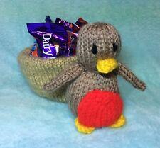 KNITTING PATTERN - Christmas Robin Sweet Nest - Great gift holds choc orange