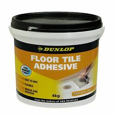 Dunlop FLOOR TILE ADHESIVE 4Kg Contains Recycled Rubber, Easy Mix *USA Brand