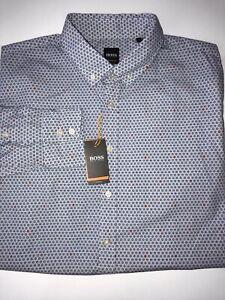 NWT $128 Hugo Boss Mabsoot Men's Slim Fit Cotton Dark Blue  Dress Shirt Size 2XL