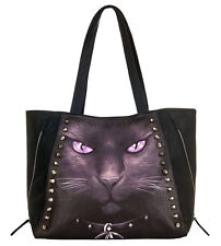 BLACK CAT Tote Bag Top quality PU Leather Studded Cat/Cute/Mystical/Purse/Gift
