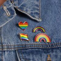 Fashion Rainbow Heart Enamel Lapel Collar Pin Corsage Brooch Lovely Jewelry Gift