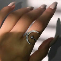 Crescent Moon & Tiny Star Rings Chic Women Adjustable Crystal Ring Jewelry Gift