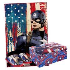 Geschenkbox Hausschuhe Größe 32/33 & Decke in Box Avengers Captain America