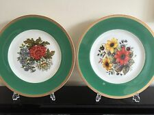 PAIR OF GREEN / GOLD COALPORT BONE CHINA CABINET / COLLECTOR / DISPLAY PLATES