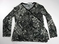 Chico's Travelers Black White Floral  Blouse Size 3 Long Sleeve V Neck