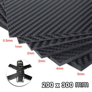 Carbon Fiber Plate Panel Sheet 3K Plain Weave Glossy Surface 200x300x0.5mm-3mm