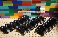 LEGO 75609 Wheel Rim Ø8 x 6.4 Assembly w/ Rubber Tires + Axles - 100 Pcs