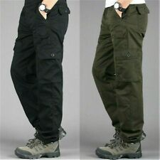Men 7 Pockets Cargo Military Pants Work Trousers Cotton Army Plain Outdoor New