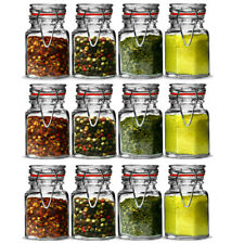 Set Of 12 Clip Seal Glass Spice Jars Dried Herbs Seeds Kitchen Storage Canisters