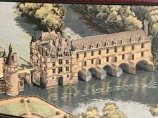 French Museum Quality Tapestry Medieval Castle On A Bridge Boulle Framed