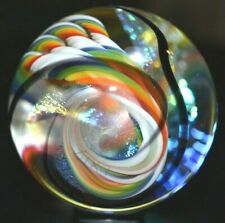 """ERIC BROCK GLASS MARBLE/1.741""""-RAINBOW VISION-4 FILIGRANA RIBBONS with DICHROIC"""