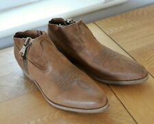 LADIES COWBOY LOW SLUNG WESTERN BOOTS BY D.USK SIZE 38 / 5 brown tan