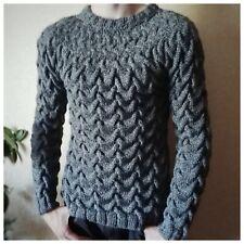 Wool Melange Gray Men Knitted Fisherman Sweater Handmade with Braids Pullover