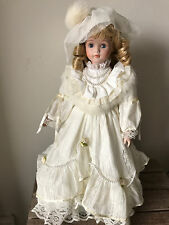 Vintage Doll, Ivory lace gown with pearl and fur detail (with Stand)