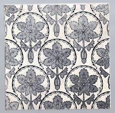 Original Antique Majolica tile VICTORIAN AESTHETIC STYLE FLOWERS in black