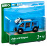 33967 BRIO WORLD Safari Wagon & Zebra Wooden Plastic Magnetic Train Railway 3yr+