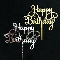 Happy Birthday Acrylic Cake Topper Decor Silver Gold