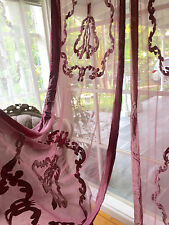 2 Vintage Pink Deep Rose Velvet & Lace Window Curtains Panel Drape Drapery New