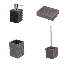 Set accessori bagno da appoggio in ceramica e acciaio inox grigio serie Brik